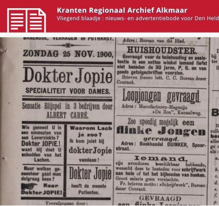 Oude krantenpagina met advertentie voor Blijspel Dokter Jopoe